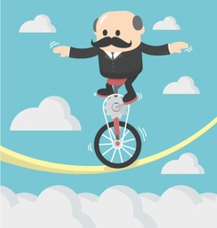 Businessman cycling balancing on a rope vector