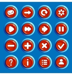Cartoon red round buttons with web icons vector