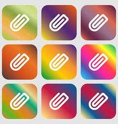 Paper clip icon nine buttons with bright gradients vector
