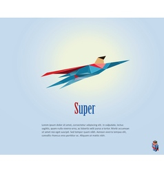 Flying super hero origami style icon vector