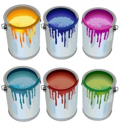 Tins with paint vector