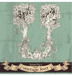 Magic grunge forest hand drawn by a vintage font - vector image