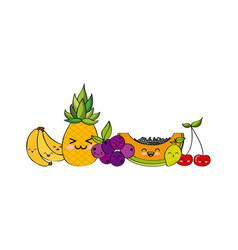 kawaii fruits design vector image