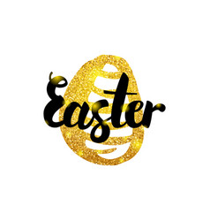 easter gold inscription vector image