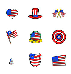 American states icons set cartoon style vector