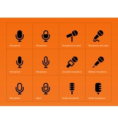 Microphone icons on orange background vector