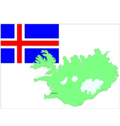 6132 iceland map and flag vector