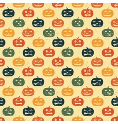 Halloween seamless background with pumpkin retro vector
