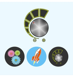 Set icons with gears rocket volume control vector