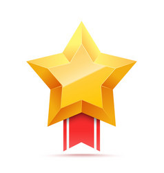 3d gold star and red ribbon victory icon vector image