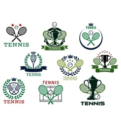 Tennis emblems with equipment and heraldic vector