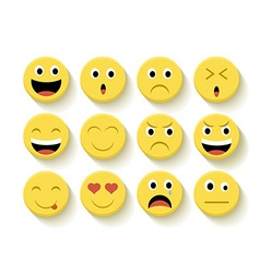 Cute emoticons set vector