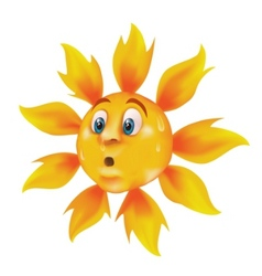 Sweating cartoon sun vector