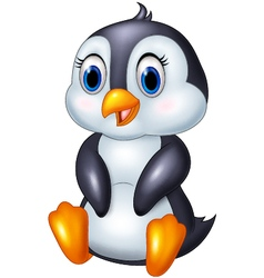 Cute cartoon animal penguin sitting isolated on wh vector