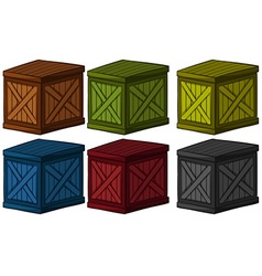 Wooden boxes in different colors vector
