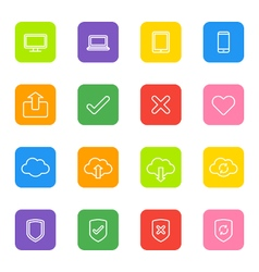 White line web icon set colorful rounded rectangle vector