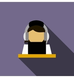 Woman in a headset with laptop icon vector
