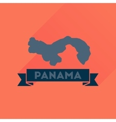 Flat icon with long shadow panama map vector