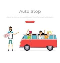 Autostop concept on white vector