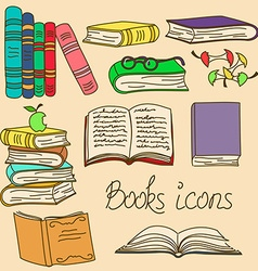 Set of isolated books icons vector