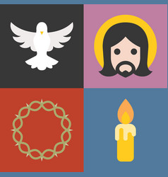 About christian and church icons set vector