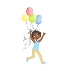 Boy running holding four colorful balloons vector