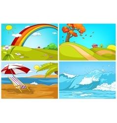 cartoon set of landscapes backgrounds vector image