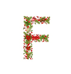 Christmas floral tree letter f vector
