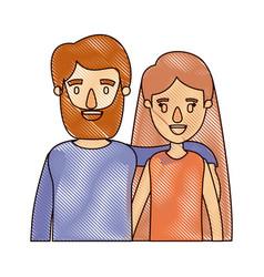 color crayon stripe cartoon half body couple woman vector image vector image