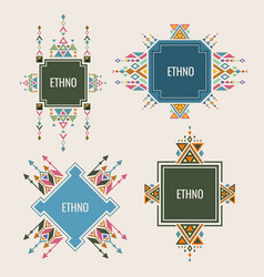 colorful ethno logo or banners design with vector image vector image