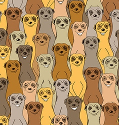 Colorful seamless pattern of smiling meerkats vector