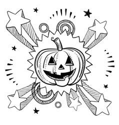 Doodle pop jack o lantern pumpkin vector