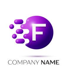 F letter splash logo purple dots circle bubble vector