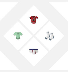 Flat clothes set of t-shirt casual underclothes vector