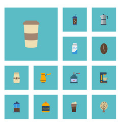 Flat icons sweetener french press arabica bean vector