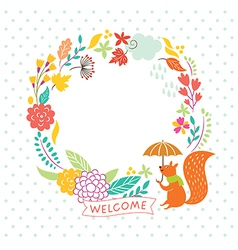 floral autumn frame welcome lettering ill vector image