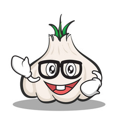 Geek face garlic cartoon character vector