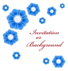 Greeting card or background with blue flowers vector image