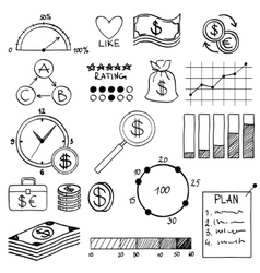 Hand draw doodle elements money and coin icon vector image vector image