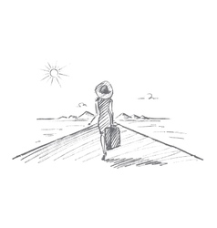Hand drawn woman with suitcase going to travel vector