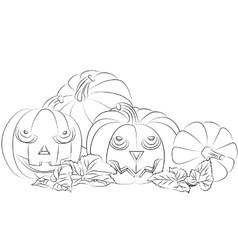 Monochrome of a Halloween pumpkin vector image