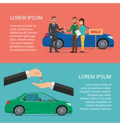 Rent and buying car horizontal cartoon poster vector