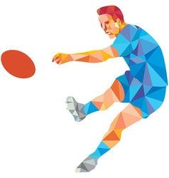 Rugby player kicking ball low polygon vector