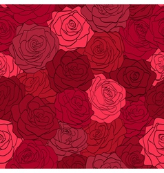 seamless pattern in red roses with contours vector image