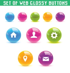 set of web glossy buttons vector image vector image
