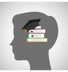 Silhouette head boy library education online vector