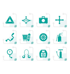 Stylized car and transportation equipment icons vector