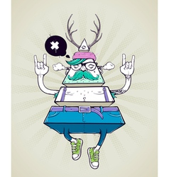 Triangle hipster bizarre character vector image