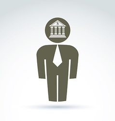 White collar bank worker man icon with bank vector
