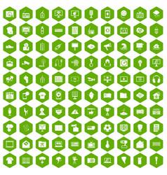 100 tv icons hexagon green vector